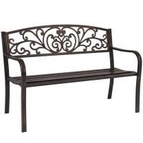 Best Choice Products 50in Outdoor Patio Garden Bench Park Yard Furniture Porch Chair w/Steel Frame - Brown