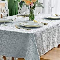 maxmill Jacquard Table Cloth Damask Pattern Spillproof Wrinkle Resistant Oil Proof Heavy Weight Soft Tablecloth for Kitchen Dinning Tabletop Outdoor Picnic Rectangle 52 x 70 Inch Seafoam