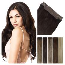 LeaLea Real Human Hair Extensions Halo Hair Extensions 14 Inch Dark Brown, 75g Straight 100% Remy Hair Invisible Wire Seamless Real Hair Extension