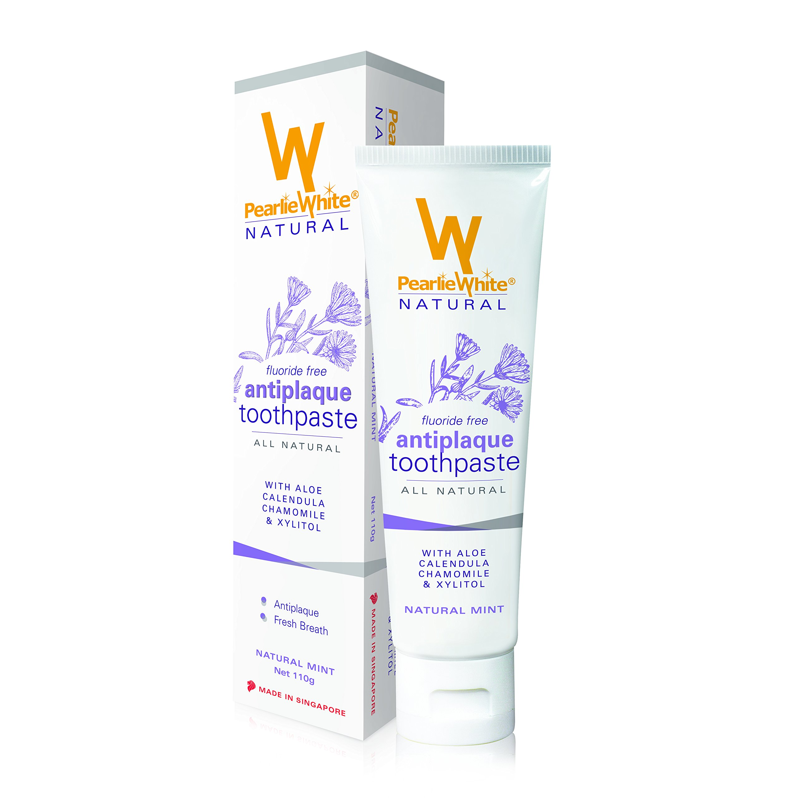 Pearlie White Natural Antiplaque Fluoride Free Toothpaste (3.8oz, 110gm) | Non Fluoride All Natural Toothpaste - NO SLS, Parabens, Triclosan, Titanium Dioxide