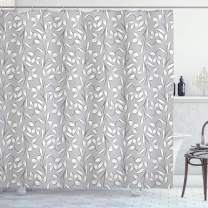 """Ambesonne Grey Shower Curtain, Floral Ornaments Spring Theme Abstract Paisley Antique Vintage Style Illustration, Cloth Fabric Bathroom Decor Set with Hooks, 70"""" Long, Grey White"""