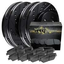Fits 2008-2009 Jetta Full Kit Black Hart Drilled Slotted Brake Rotors Kit and Pad