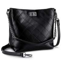 S-ZONE Women Leather Crossbody Bag Bucket Purse Handbag with 2 Shoulder Straps