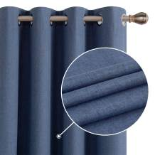 Deconovo Total Blackout Curtains Thermal Insulated Light Blocking Curtains Grommet Top Curtains for Kids Room Blue 52W x 84L Inch 2 Panels