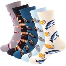 MEIVSO 5 Pairs Women's Novelty Funny Socks Animal Flower Pattern Cotton Crew Socks Pack