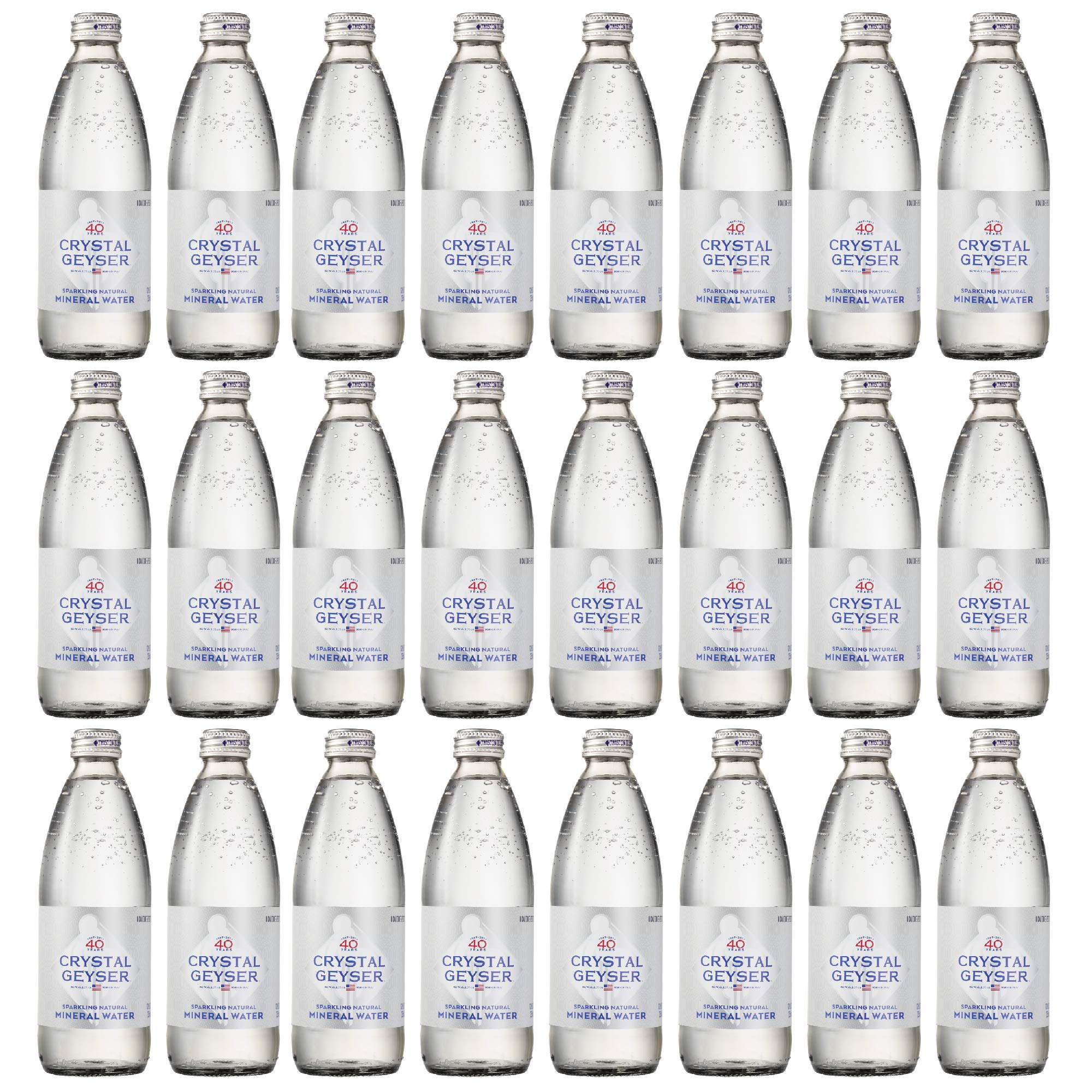Crystal Geyser 12 oz Original Natural Sparkling Mineral Water, 24 Pack, Glass Bottles, Zero Calorie, No Artificial Ingredients or Sweeteners