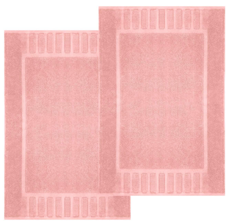 "White Classic Luxury Bath Mat Floor Towel Set - Absorbent Cotton Hotel Spa Shower/Bathtub Mats [Not a Bathroom Rug] 22""x34"" | 2 Pack | Pink"