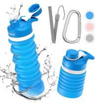 Collapsible Foldable Water Bottle - BPA Free FDA Approved Portable Reusable Leakproof Silicone Sports Travel Water Bottle for Outdoor, Gym, Hiking, Cycling with Lanyard and Carabiner