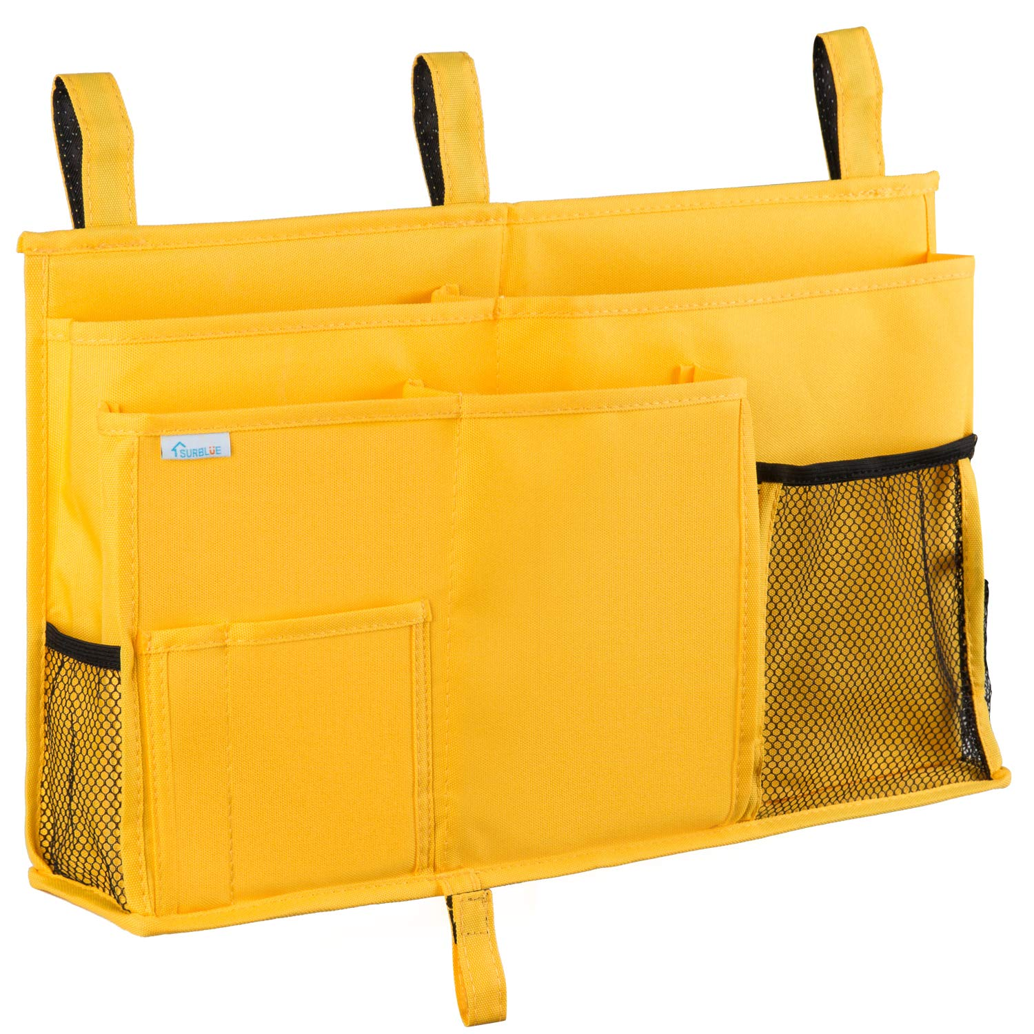Surblue Bedside Caddy Hanging Bed Organizer Storage Bag Pocket for Bunk and Hospital Beds, College Dorm Rooms Baby Bed Rails,Camp (8 Pockets),Yellow