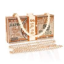 Magibag Diamond Dollar Bill Shoulder Bag Rhinestone Money Clutch Purse Cash Wedding Dinner Handbag