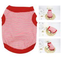 PETSIMTO 3# Full Cotton Dog Shirts,Cotton Dog Clothes Stripe Red Costumes Sweaters Dog T-Shirts for Small Medium Large Pet Dog Cat,Comfortable Soft and Breathable