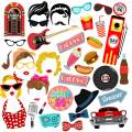 50s Photo Booth Props, BizoeRade 41pcs 50's Sock Hop Photo Booth Props, 1950s Rock N Roll Party Favors,50s Theme Party Supplies For 50s Dinner Party