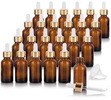 1 oz Amber Glass Boston Round Bottle with Gold Metal and Glass Dropper (24 pack) + Funnel for Essential oils, Aromatherapy, E-liquid, Food grade, BPA free