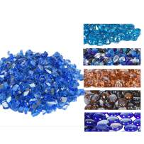 GasSaf 20-Pound 1/2 Inch Fire Glass Reflective Tempered Fireglass Cut Crushed FireGlass for Fire Pit, Fireplace and fire Pit Table (Cobalt Blue Reflective)