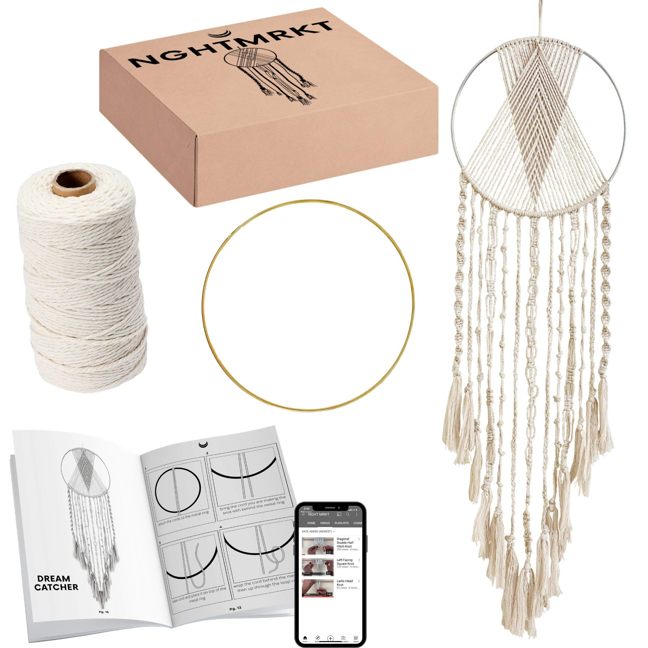Nghtmrkt Macrame Kit, DIY Macrame Kits for Adult Beginners, Dream Catcher Kit, 200 Yards Macrame Cord, Gold Ring