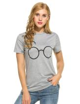 Women's Casual Glasses Scar Print Tee Graphic Short Sleeve T-Shirt Tops