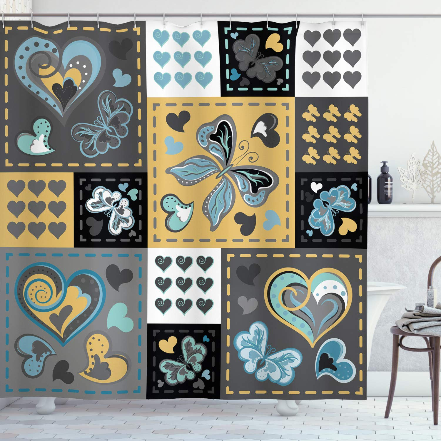 """Ambesonne Vintage Shower Curtain, Dark Textured Vintage Ornament with Heart and Butterfly Motif in Mix Retro Design, Cloth Fabric Bathroom Decor Set with Hooks, 75"""" Long, Grey Yellow"""