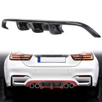ECOTRIC Carbon Fiber Rear Bumper Diffuser Lip Fit for BMW M3 M4 F80 M4 F82 2015-2017 UV