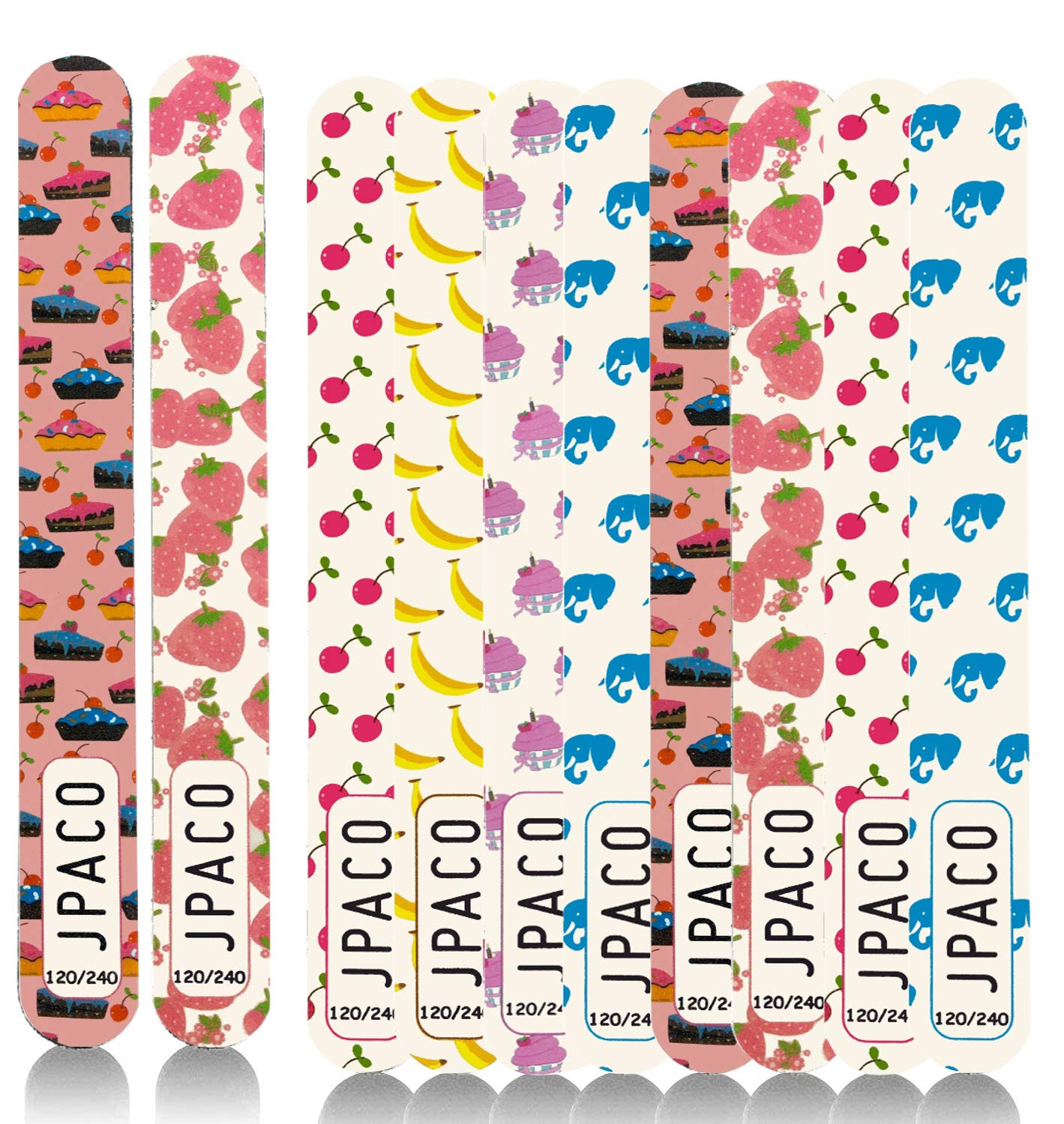JPACO 12 PACK Professional Nail Files 120 240 Grit (6 Cute Designs) for Press Ons, Gel, Acrylic, Crystal, Natural Nails. Double Sided Emory Board & Washable (12 PCS)