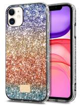 WOLLONY iPhone 11 Case for Women Girls Glitter Sparkle Bling Shiny Cover Ultra Slim Durable Hybrid TPU Shockproof Bumper Hard Anti-Slip Back Protective Cover for iPhone 11 6.1inch Shinning Gold