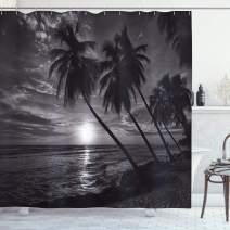 """Ambesonne Tropical Shower Curtain, Coconut Palm Trees on Beach Bend by The Wind Horizon Over The Sea Picture, Cloth Fabric Bathroom Decor Set with Hooks, 70"""" Long, Black and White"""