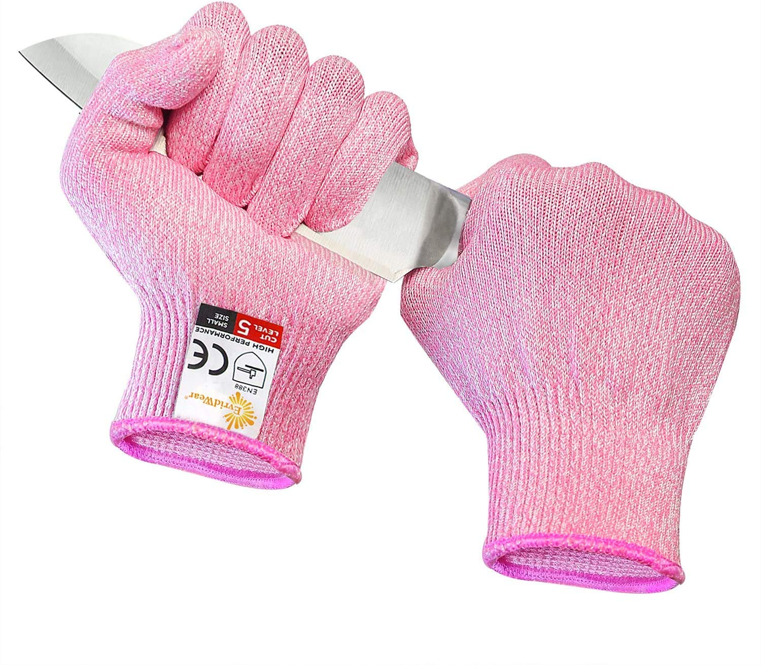 EVRIDWEAR Cut Resistant Gloves, Food Grade Level 5 Safety Protection Kitchen Cut Gloves For cutting, Chopping, Fish Fillet, Mandolin Slicing and Yard-Work Thin & Lightweight (Pink, Medium)