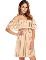 Zeagoo Women's Casual Off Shoulder Striped Ruffles Strapless Short Dresses Mini Dresses