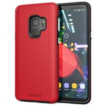 Crave Dual Guard for Samsung S9 Case, Shockproof Protection Dual Layer Case for Samsung Galaxy S9 - Red