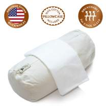 "ComfyComfy Round Buckwheat Pillow for Neck Support, Small Size (14"" x 6""), Made with USA Grown Buckwheat Hulls and Durable Cotton Twill, Comes with Custom Percale Cotton Pillowcase"