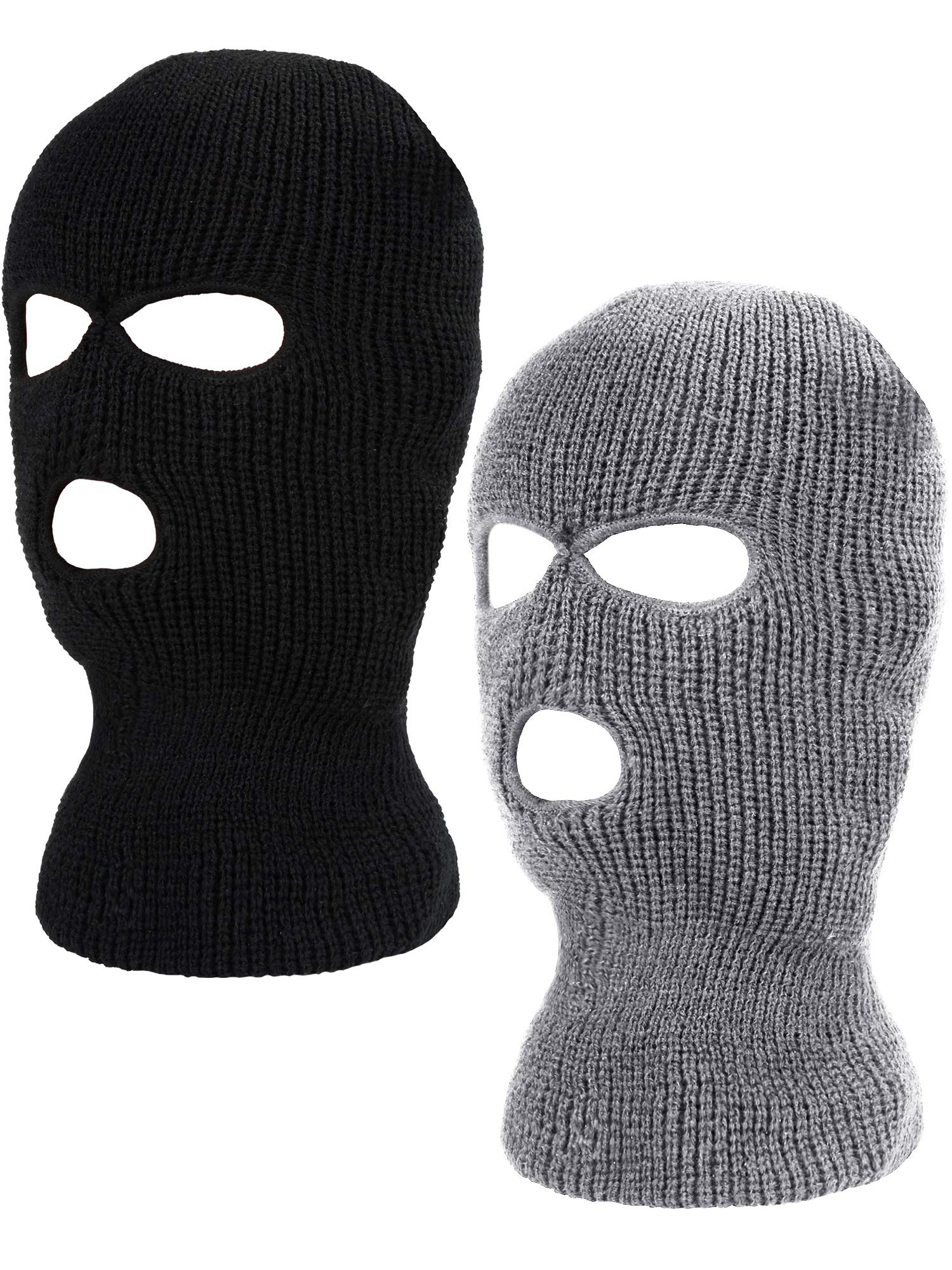 WILLBOND 2 Pieces Knitted Full Face Cover 3-Hole Ski Mask Winter Balaclava Face Mask for Adult Supplies