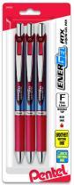 Pentel EnerGel Deluxe RTX Retractable Liquid Gel Pen, 0.5mm, Needle Tip, Red Ink, 3 Pack (BLN75BP3B)