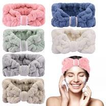 6 Pack Microfiber Headband Soft Coral Fleece Headbands Elastic Terry Cloth Skin Care Headband Spa Facial Head Wrap for Women Fluffy Headbands for Washing Face Makeup Shower Yoga Sports