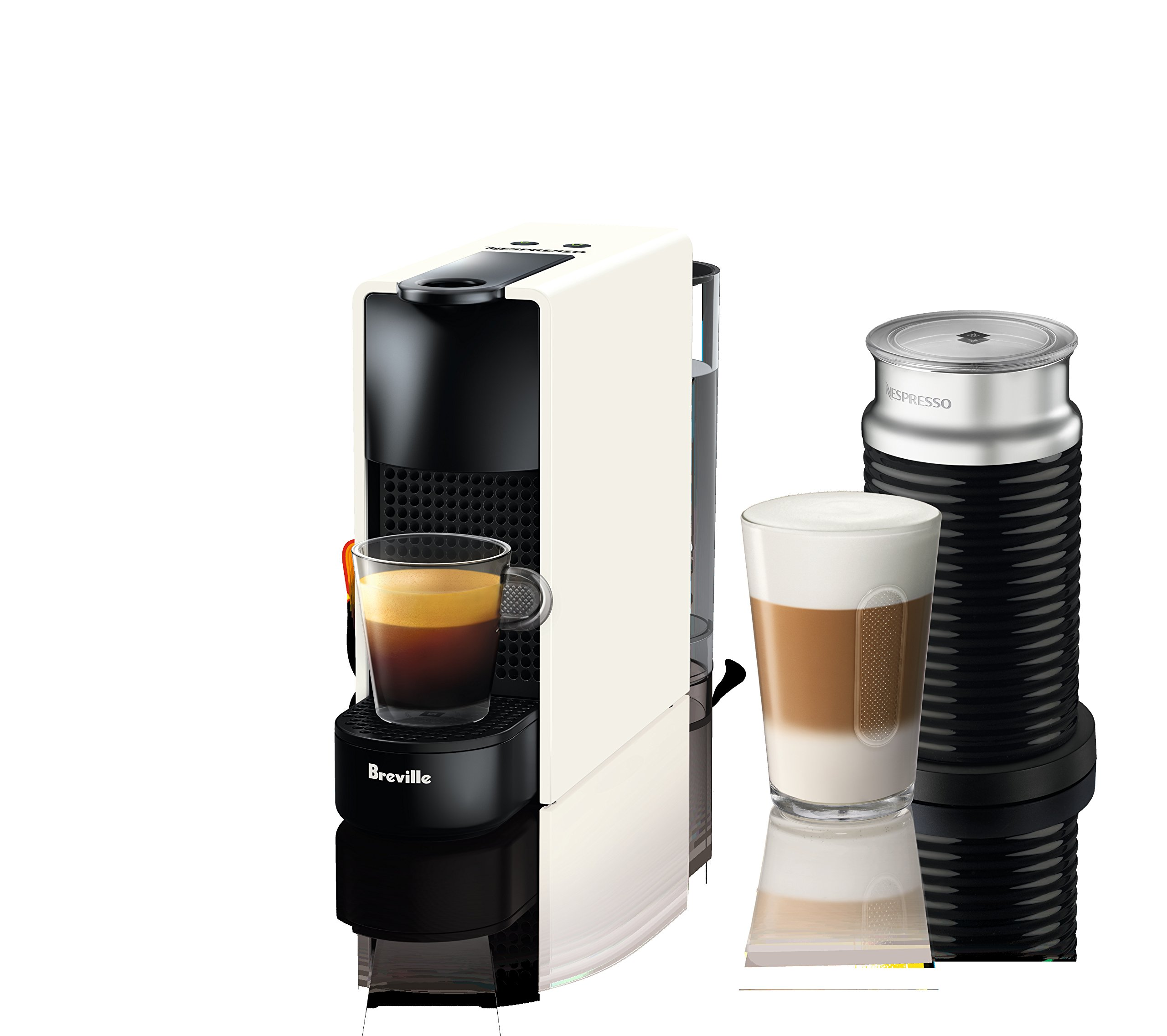 Breville-Nespresso USA BEC250WHT1AUC1 Nespresso Essenza Espresso Machine, Aeroccino Bundle - Pure White