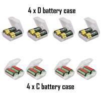 Whizzotech AA AAA C D Battery Storage Case Holder Organizer Box (4C + 4D)