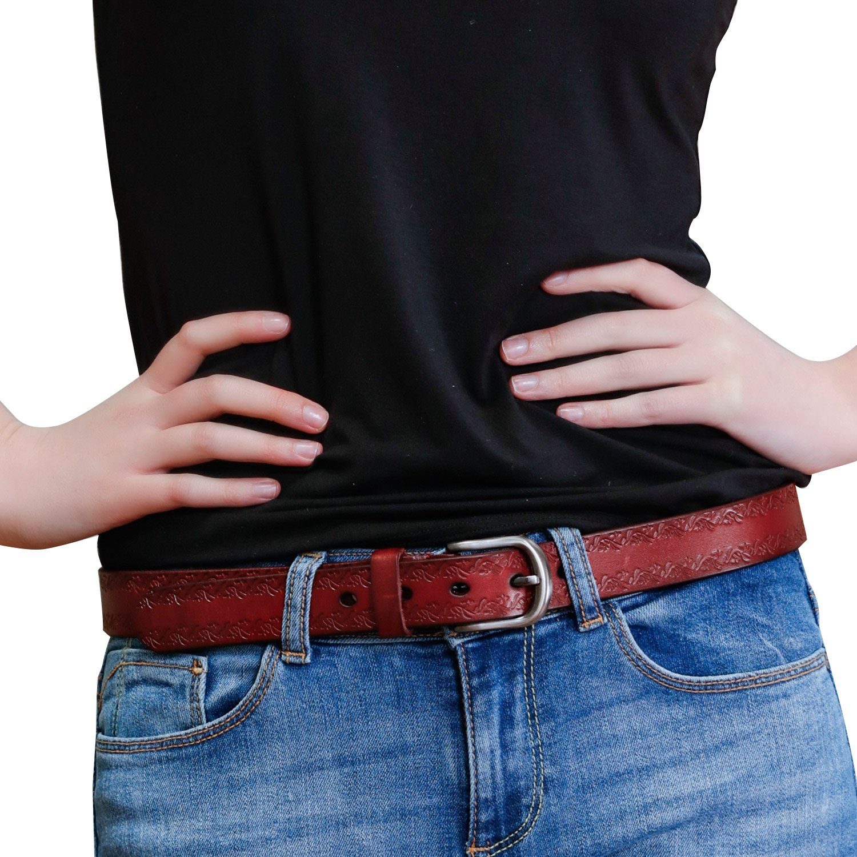 GSG Birthday Gifts Ladies Jeans Belts for Women REAL Leather Belts Embossed Camel Belts Pin Belts Brown Black Vintage