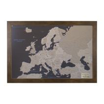 Push Pin Travel Maps Personalized Earth Toned Europe with Rustic Brown Frame and Pins - 27.5 inches x 39.5 inches