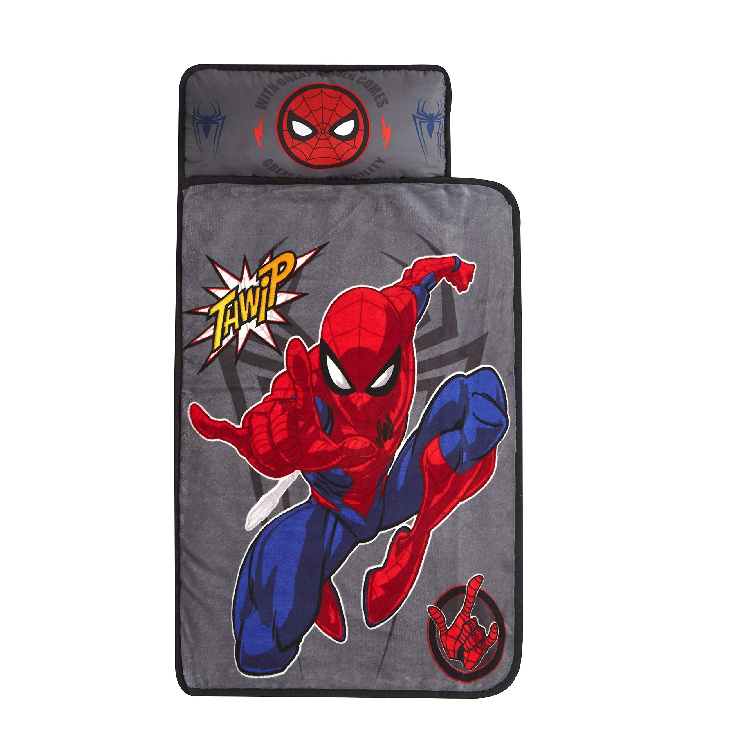 """Idea Nuova Marvel Spiderman Super Soft Toddler Quilted Nap Mat with Built in Pillow, 26""""x46"""", Multicolor"""