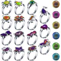 Hicarer 15 Pieces Adjustable Mood Rings for Girls and Boys Mixed Color Changing Mood Rings for Halloween Costume Props Birthday Party Favors and Goodie Bag Fillers (Style B)