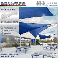 Windscreen4less 15' x 15' x 15' Triangle Sun Shade Sail - Ice Blue Durable UV Shelter Canopy for Patio Outdoor Backyard with Free 3 Pad Eyes - Custom Size