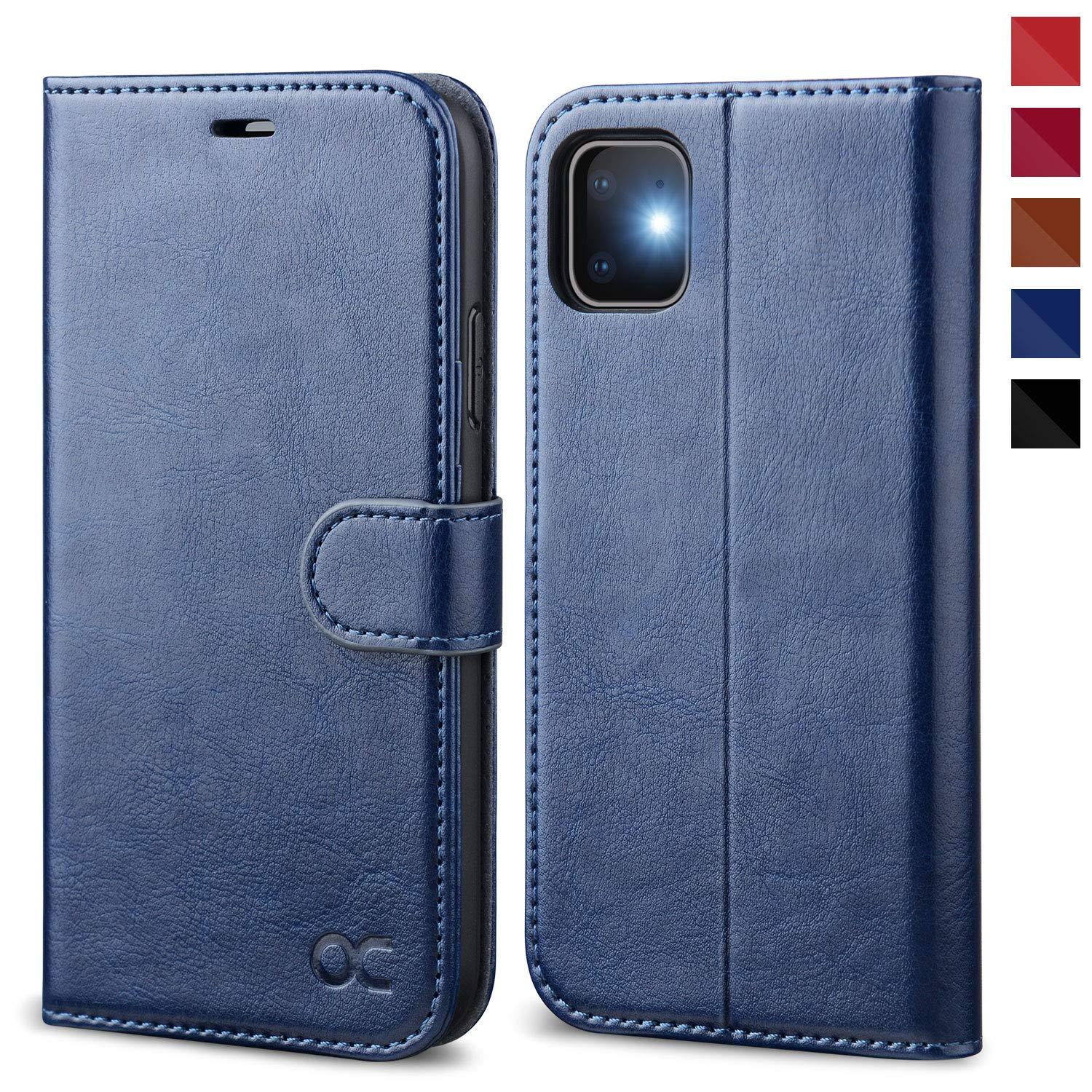 OCASE iPhone 11 Case, iPhone 11 Wallet Case with Card Holder, Leather Flip Case with Kickstand and Magnetic Closure, TPU Shockproof Interior Protective Cover for iPhone 11 6.1 Inch (Blue)