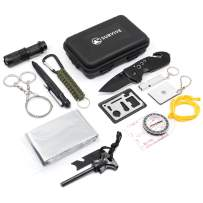 SURVIVE Emergency Survival Kit 13 in 1, Kit Includes Pocket Knife Flashlight Whistle Paracord Tactical Pen Multi Tool Compass Fire Starter Signal Mirror Wire Saw Blanket, Camping Fishing Car Gear EDC