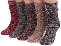 5 Pairs Women Winter Vintage Think Knit Cotton Crew Socks, Size 5-10 S60