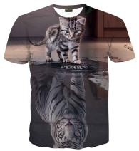 PIZOFF Unisex 3D Digital Cat Printing T Shirts