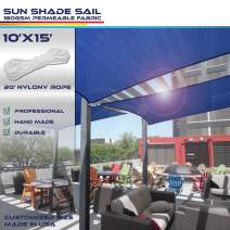 Windscreen4less Sun Shade Sail Ice Blue 10' x 15' Rectangle Patio Permeable Fabric UV Block Perfect for Outdoor Patio Backyard - Customize Available