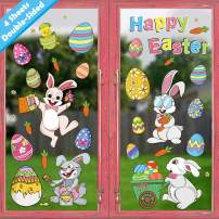 Ivenf Easter Decorations Window Clings Decals Decor, Kids School Home Office Extra Large Easter Eggs Bunny Carrot Flowers Accessories Party Supplies Gifts, 4 Sheet 57 pcs
