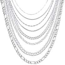 1mm-5mm Solid 925 Sterling Silver Chain for Men Women Teen Jewelry Cable/Rolo/Singapore/Box/Figaro/Cuban Curb Chains Necklace, Length 14 Inch to 30 Inch, U7 Gift Packaging