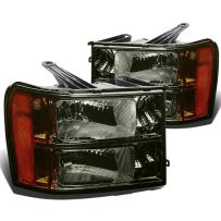 DNA Motoring HL-OH-GMCSIE07-SM-AM Headlight Assembly (Driver and Passenger Side),Smoked amber
