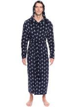 Men's Premium Microfleece Long Hooded Robe - Arrows Dark Blue/White - S/M