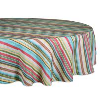 """DII 100% Polyester, Spill Proof, Machine Washable, Tablecloth for Outdoor Use, 60"""" Round, Warm Summer Stripe, Seats 4 People"""