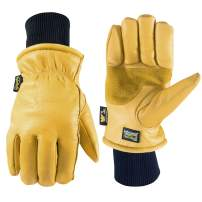 Men's HydraHyde Leather Winter Work Gloves (Wells Lamont 1202L), Saddletan, Large